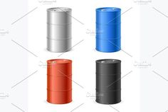 Oil Barrel Drum Collection. Vector by Stacy on @creativemarket