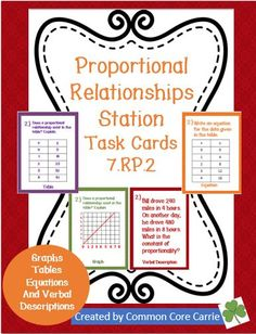 This product includes a twenty task cards divided into five stations about proportional reasoning. The stations include four questions on each of the following: graphs, tables, verbal descriptions, equations and ratios. Students are asked to explain how they know if a proportional relationship exits in a graph, table, and a verbal description. Students are also asked to calculate the constant of proportionality and to identify it in a table, graph and equation.