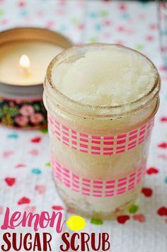 Lemon Sugar Scrub: Make your own lemon sugar scrub with this easy sugar scrub recipe!