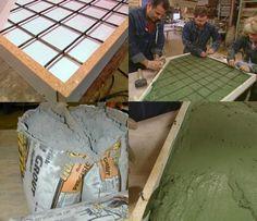 plan de travail en béton ciré à construire soi-même- béton teinté vert