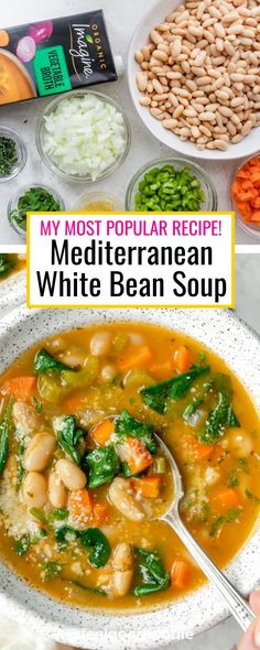 Try this vegetarian Mediterranean White Bean Soup for lunch or dinner. It's a quick gluten free soup recipe that's filled with vegetables and plant-based protein and is easily made vegan - just omit the parmesan cheese for serving! | Mediterranean Recipes | Mediterranean Diet | Soup Recipes | #soups #whitebeansoup #vegansoup #mediterraneanfood #feelgoodfoodie