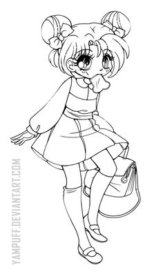 Anna Nozaki Chibi Commission Open Lineart By YamPuff Adult Coloring PagesColoring