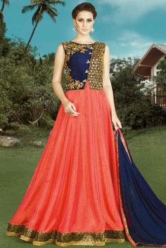 Orange Silk Anarkali Suit With Zardosi Work. Robe Anarkali, Costumes Anarkali, Silk Anarkali Suits, Anarkali Churidar, Salwar Suits, Designer Anarkali, Designer Gowns, Indian Wedding Gowns, Indian Gowns