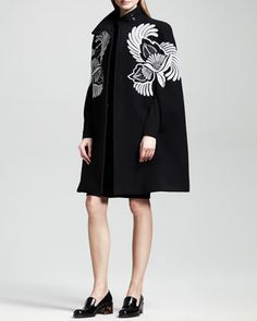 Embroidered Cape Coat & Classic Sheath Dress by Stella McCartney at Bergdorf Goodman.