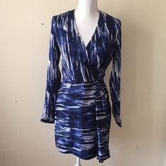 Catherine Malandrino Isabella Silk Dress Brand new, never worn! Woven silk-blend dress, graphic print throughout. V-neck, wrapped bodice, banded sleeve cuffs, tonal topstitching and panel seaming. Hidden side zipper closure. 94% silk, 6% spandex. Catherine Malandrino Dresses