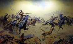 William Robinson Leigh - one of my favorite artists; his use of color is thus far unmatched in western art.  http://nevsepic.com.ua/uploads/posts/2011-03/1299349901_custers-last-fight.jpg