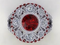 This is a Unique and Precious Vintage , Art Deco Style Engagement ring with a Bezel Set Round 6.5mm Lab Created Brilliant Cut Ruby and FSI1