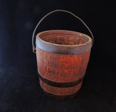 Primitive Wood Paint BUCKET BARREL with Wire BALE Handle - Small Great Decor
