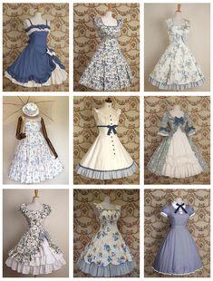 cute little blue dresses Pretty Outfits, Pretty Dresses, Beautiful Dresses, Cool Outfits, Kawaii Fashion, Lolita Fashion, Cute Fashion, Looks Rockabilly, Vintage Dresses