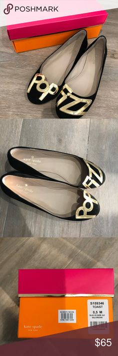Kate Spade Ballet Flats Adorable Kate Spade ♠️ Ballet flats with Pop-Fizz 🍾🥂detail.  Size 8.5.  Original box.  Worn once for New Years Eve. kate spade Shoes Flats & Loafers