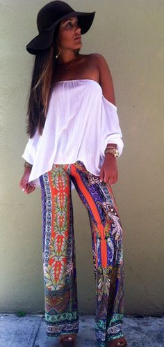 Boho Style Love the hat and top, pants too are cute.