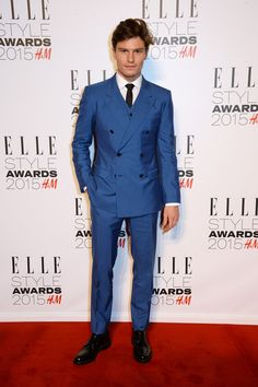 Oliver Cheshire wearing Dolce&Gabbana to attend the Elle Style Awards 2015 in London on February 24, 2015.