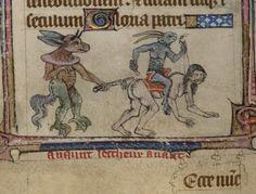 Algunas pequeñas bestias son verdaderamente demoniacas. Libro de Horas. Inglaterra, siglo XIV. BL, Yates Thompson 13, fol. 141v - marginalia