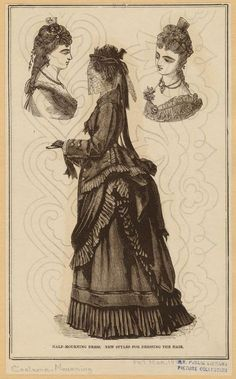 """Half-mourning dress; New styles for dressing the hair. Originally published in The Peterson Magazine, March 1873."""