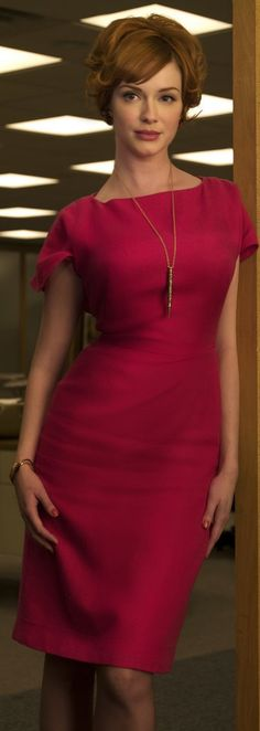 Leave it to Joan to rock a hot pink dress like it's nobody's business.