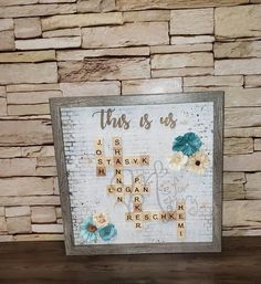 This Is Us Scrabble Tile Family Frame | Etsy Scrabble Letters, Scrabble Tiles, Brown And Grey, Black And White, Wall Spaces, Shadow Box, Color Schemes, Embellishments, This Is Us