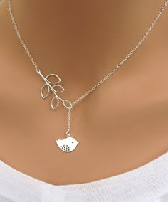 XMAS SALE Detailed Bird and Branch lariat necklace in STERLING Silver
