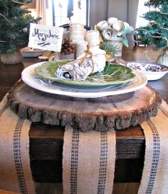 Gorgeous sliced log charger - love this table