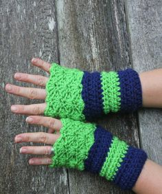 Seattle Seahawks inspired fingerless arm warmers, can be custom made to your color and size