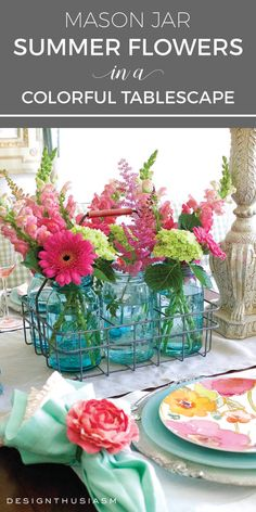 Colorful Garden Tinted Mason Jar Flower Vases Table Decor