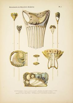 """PAUL FOLLOT, """"Documents de Bijouterie Moderne"""", 24 page advertising folio. Current page showing Art Nouveau hatpins, decorative hair comb, buckles, cufflinks and a brooch in gold and silver."""