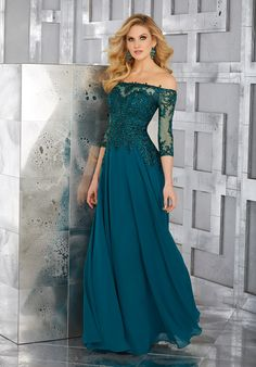 Crystal Beaded Embroidery on Net and Chiffon. Colors Available: Teal, Pewter.
