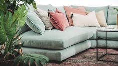 Turkos Mammuten sammet, modul, soffa, sammetssoffa, kuddar, sammetskuddar, möbler, vardagsrum, inredning