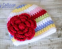 Items similar to Crochet Baby Hat, Striped Beanie, Girls Hat, Flower Hat on Etsy Childrens Crochet Hats, Crochet Kids Hats, Crochet Beanie Hat, Crochet Girls, Beanie Pattern, Diy Crochet, Crocheted Hats, Baby Girl Hats, Girl With Hat