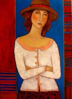 Painting Taka jedna w sweterku - Artist Krystyna Ruminkiewicz