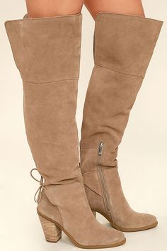 fce1ca13443 Every time the Jessica Simpson Cassina Taupe Suede Leather Over the Knee  Boots come to town
