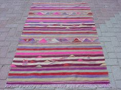 VINTAGE Turkish Rug Kilim Carpet Handwoven Kilim by sofART on Etsy, $149.00