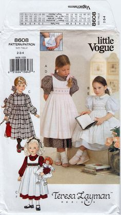 Girls Pinafore Dress Girls Prairie Dress Smocked Apron LITTLE VOGUE 8608 UNCUT size 2-3-4 Smocked Dress Girls Designer Dress Sunday Dress:  Designed by Teresa Layman; C. 1993; Childs dress with pinafore and transfer for smocking. This is a gorgeous pattern! Dress has full skirt gathered to empire waistline, Peter Pan collar, long short puff sleeves. Button wrap pinafore may be smocked. Transfer is included for smocking.  Girls sizes 2 - 3 - 4 Chest 21 - 22 - 23  PATTERN IS UNCUT AND FACTORY…