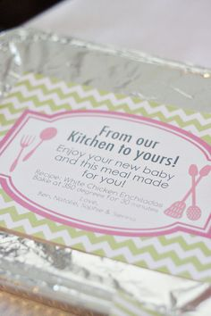 Cute idea!  Labels for dinner when a new baby is born. #baby