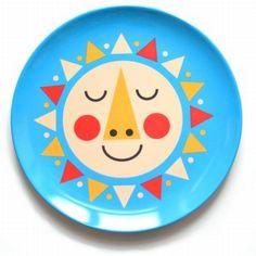 Cute #sun melamine plate by #Ingela from www.kidsdinge.com https://www.facebook.com/pages/kidsdingecom-Origineel-speelgoed-hebbedingen-voor-hippe-kids/160122710686387?sk=wall