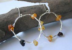 Sterling Silver Hoop Earrings Baltic Amber Dangle by YLOjewelry, $25.00