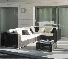 Modern 6 pc Tosh Furniture Gray Wicker Sofa Set TOS