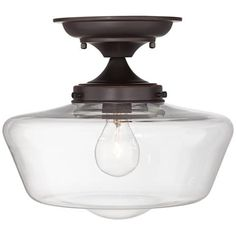 """Schoolhouse Floating 12""""W Bronze Clear Glass Ceiling Light"""
