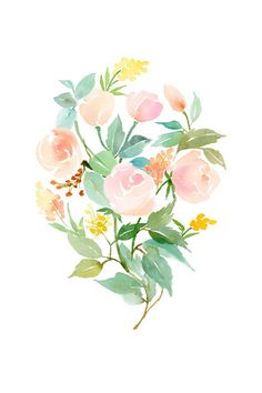 Rose Bouquet in Peach, Mint and Copper Art Print | Yao Cheng Design