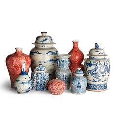 Chinoiserie Ceramic Collection from Frontgate Casual Home Decor, Luxury Home Decor, Blue And White China, Red And Blue, Wabi Sabi, China Vase, Mediterranean Decor, Mediterranean Architecture, Asian Decor