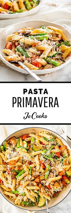 This Pasta Primavera recipe consists of warm penne bursting with roasted vegetables and parmesan. A simple one pot dish that's ready in only 30 minutes. Pasta Recipes, Cooking Recipes, Healthy Recipes, Vegetarian Recepies, Dinner Recipes, What's Cooking, Shrimp Recipes, Delicious Recipes, Zucchini