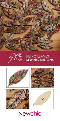 50 Pcs Retro Style Leaves Shaped Wooden Buttons Washable Sewing Buttons DIY Decor Handcraft Supplies is hot sale on Newchic. Button Art, Button Crafts, Vintage Embroidery, Embroidery Patterns, Sew Ins, Diy Buttons, Retro Stil, Style Retro, Diy Décoration