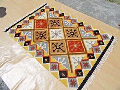 Antique Design Flatwoven Wool Rug 4 X 6 Iroquois Inspired Tribal Kilim Carpet