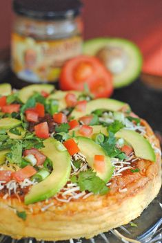 Savory Cheesecake filled with salsa chicken, cheddar cheese, onions, and chiles...