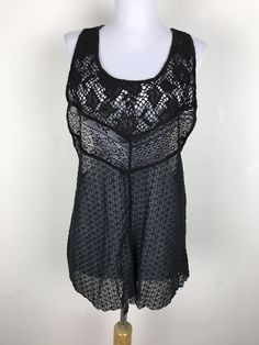 Intimately Free People Cami Tank Top Crochet Back Size M Medium Polyester Womens #FreePeople #Blouse