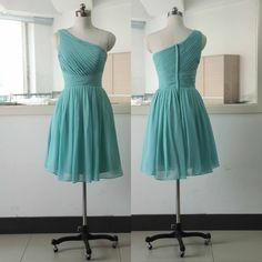One Shoulder Chiffon Short Prom Dress,Pretty Homecoming Dress