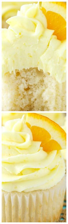 Mimosa Cupcakes ~ Moist champagne cupcake and fresh orange frosting!