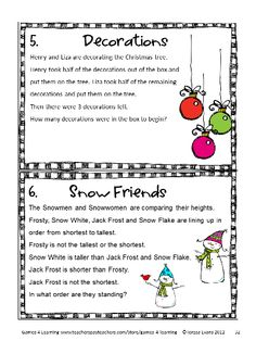 Christmas math brain teasers from Christmas Math, Games, Puzzles and Brain Teasers by Games 4 Learning. Loaded with Christmas math fun. $