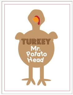 Pinterest Pin of the Week: Turkey Mr. Potato Head - - Pinned by @PediaStaff – Please Visit http://ht.ly/63sNt for all our pediatric therapy pins