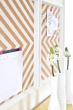 chevron office, diy corkboard, board cork, chevron cork, corkboard decor
