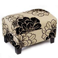 Home Decor Floral Rectangular Stool Black Cream